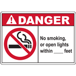DANGER No smoking, or open lights within _______ feet SIGN
