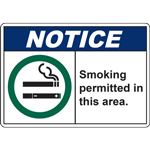NOTICE Smoking permitted in this area. SIGN