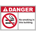 DANGER No smoking in this building. SIGN