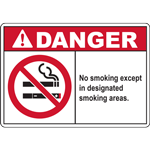 DANGER No smoking except in designated smoking areas. SIGN