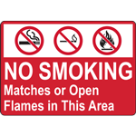 NO SMOKING Matches or Open Flames in Thia Area SIGN