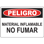 PELIGRO MATERIAL INFLAMABLE NO FUMAR SIGN