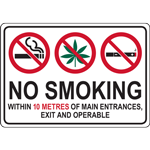 NO SMOKING WITHIN 10 METRES OF MAIN ENTRANCES, EXIT AND OPERABLE WINDOWS SIGN