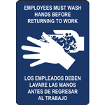 EMPLOYEES MUST WASH HANDS BEFORE RETURNING TO WORK LOS EMPLEADOS DEBEN LAVARSE LAS MANOS ANTES DE REGRESAR AL TRABAJO SIGN