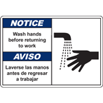 NOTICE/AVISO Wash hands before returning to work AVISO Laverse las manos antes de regresar a trabajar SIGN
