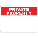 PRIVATE PROPERTY Header Red Sign