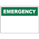 EMERGENCY Header Green Sign