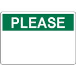 PLEASE Header Green Sign