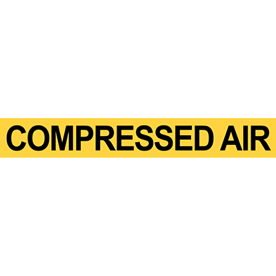 Pre-2007 ANSI Compressed Air Pipe Marker Black-on-Yellow