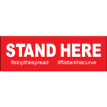 "Stand Here Rectangle Floor Sign 12""x4"""