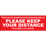 "Please Keep Your Distance Rectangle Floor Sign 12""x4"""