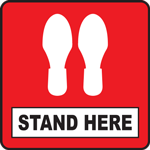 Stand Here Red Square Floor Sign 12""