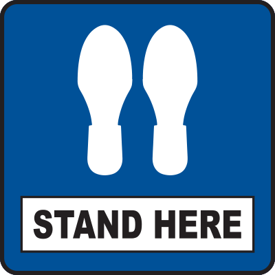 Stand Here Blue Square Floor Sign 12""