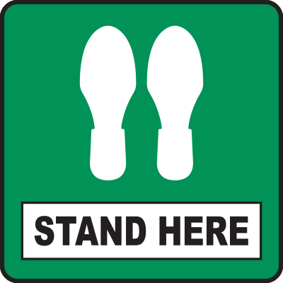 Stand Here Green Square Floor Sign 12""