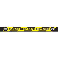 "Please Keep Safe Distance 6FT Rectangle Floor Sign 36""x3"""