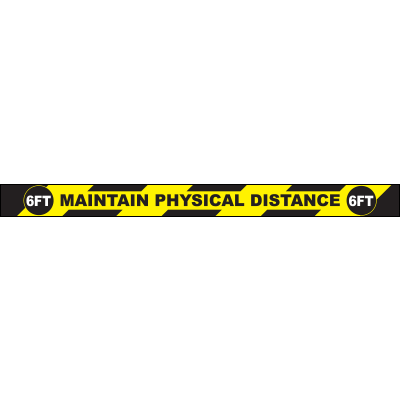 "Maintain Physical Distance 6FT Rectangle Floor Sign 36""x3"""