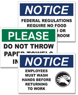Housekeeping & Hygiene Signs & Labels