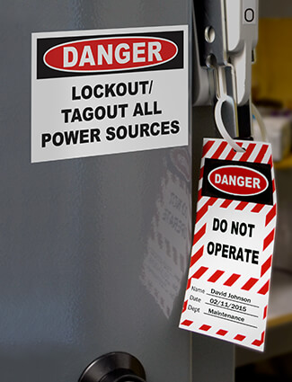 Lockout/tagout signs and labels on power box