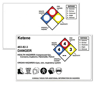 NFPA diamond labels