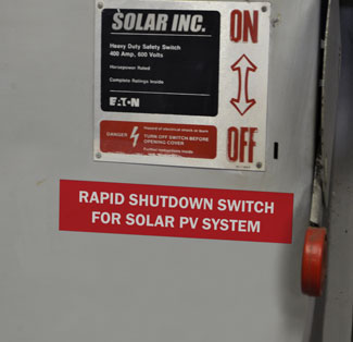 Solar label on shutdown switch.