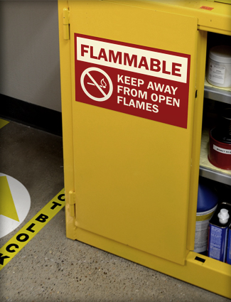 Flammable sign on chemical storage.