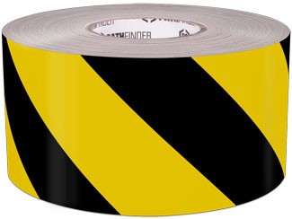 Yellow and black floor marking tape
