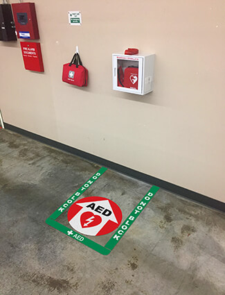 AED floor tape and identification signs