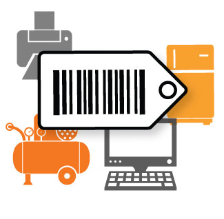 large barcode tag in front of commonly tagged items like laptops and printers