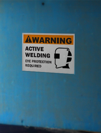 welding eye protection warning sign