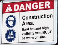 Construction Labels and Signs