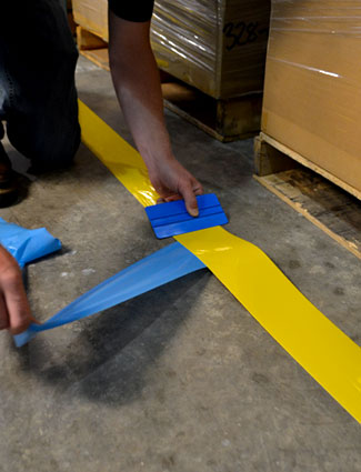Application of floor tape