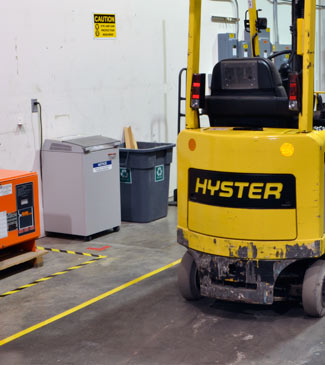 Floor tape and signs for forklift safety