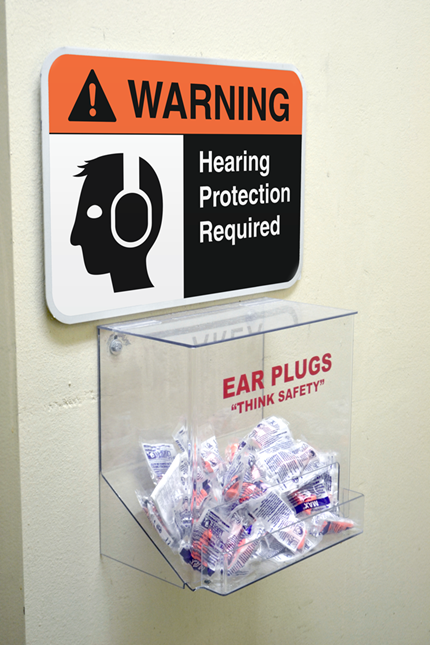 eliminating noise hazards with signage and ear plugs