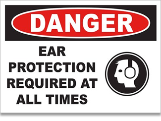 Ear protection is required sign