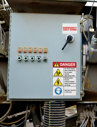 electrical hazard and equipment shut down safety signs