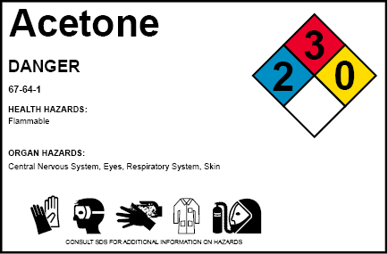 A modified label with the NFPA diamond and additional elements
