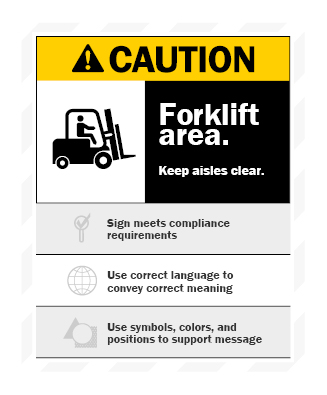forklift area caution sign