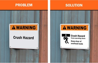 Safety Signs: An image showing a vague sign about crush hazards and a clear sign